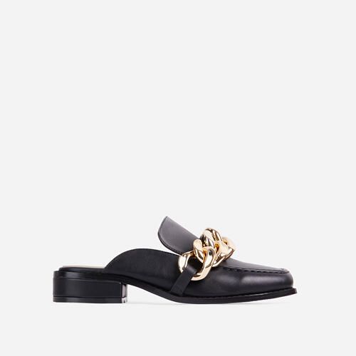 Huntington Chain Detail Flat Mule In Black Faux Leather