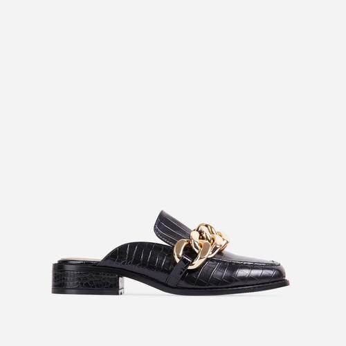 Huntington Chain Detail Flat Mule In Black Croc Print Faux Leather