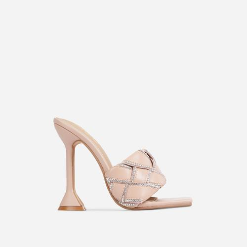 Revamp Diamante Detail Woven Square Open Toe Sculpture Heel Mule In Nude Faux Leather