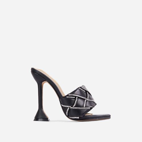 Revamp Diamante Detail Woven Square Open Toe Sculpture Heel Mule In Black Faux Leather