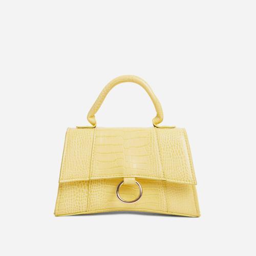 Georgie Ring Detail Tote Bag In Yellow Croc Print Patent