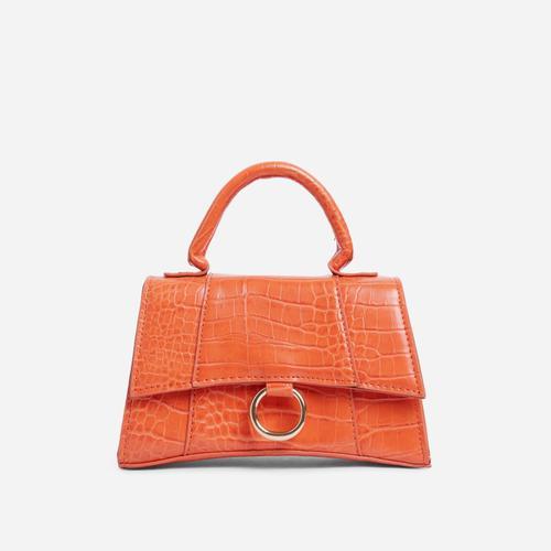 Georgie Ring Detail Tote Bag In Orange Croc Print Patent