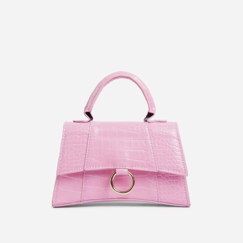 Georgie Ring Detail Tote Bag In Pink Croc Print Patent