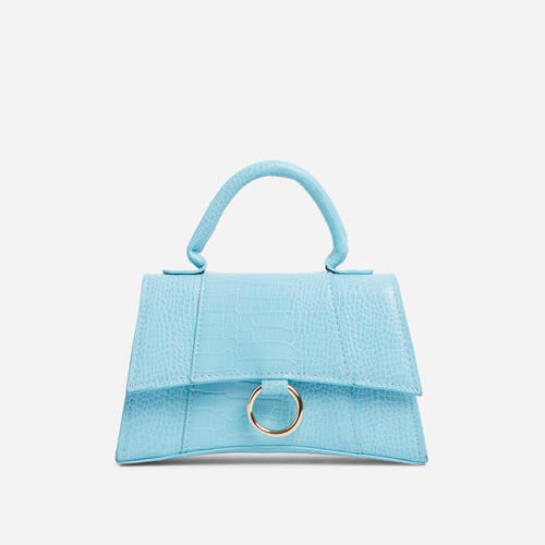 Georgie Ring Detail Tote Bag In Blue Croc Print Patent