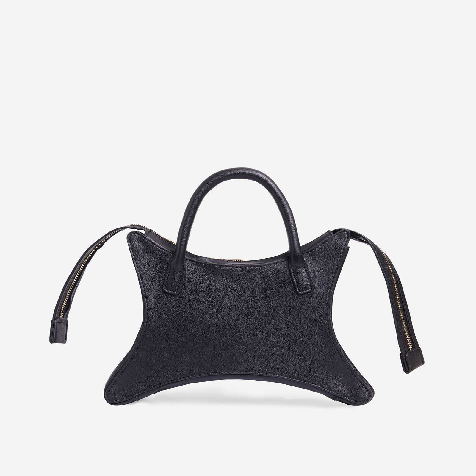 Ike Shaped Grab Bag In Black Faux Leather