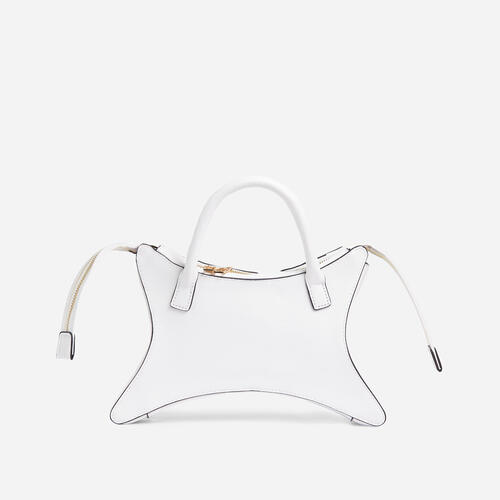Ike Shaped Grab Bag In White Faux Leather