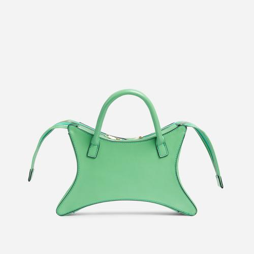 Ike Shaped Grab Bag In Green Faux Leather