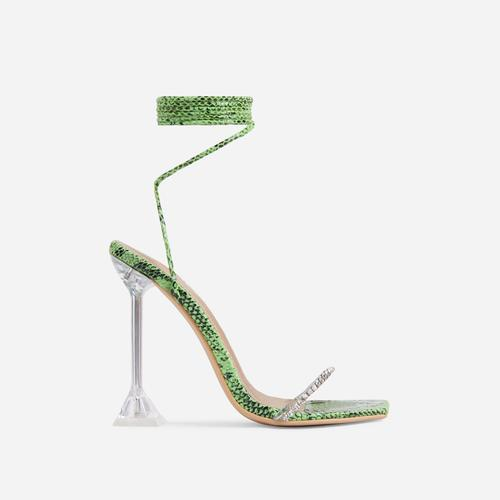 Romantic Diamante Detail Lace Up Square Toe Clear Perspex Sculptured Heel In Green Snake Print Faux Leather