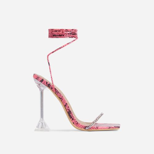 Romantic Diamante Detail Lace Up Square Toe Clear Perspex Sculptured Heel In Pink Snake Print Faux Leather