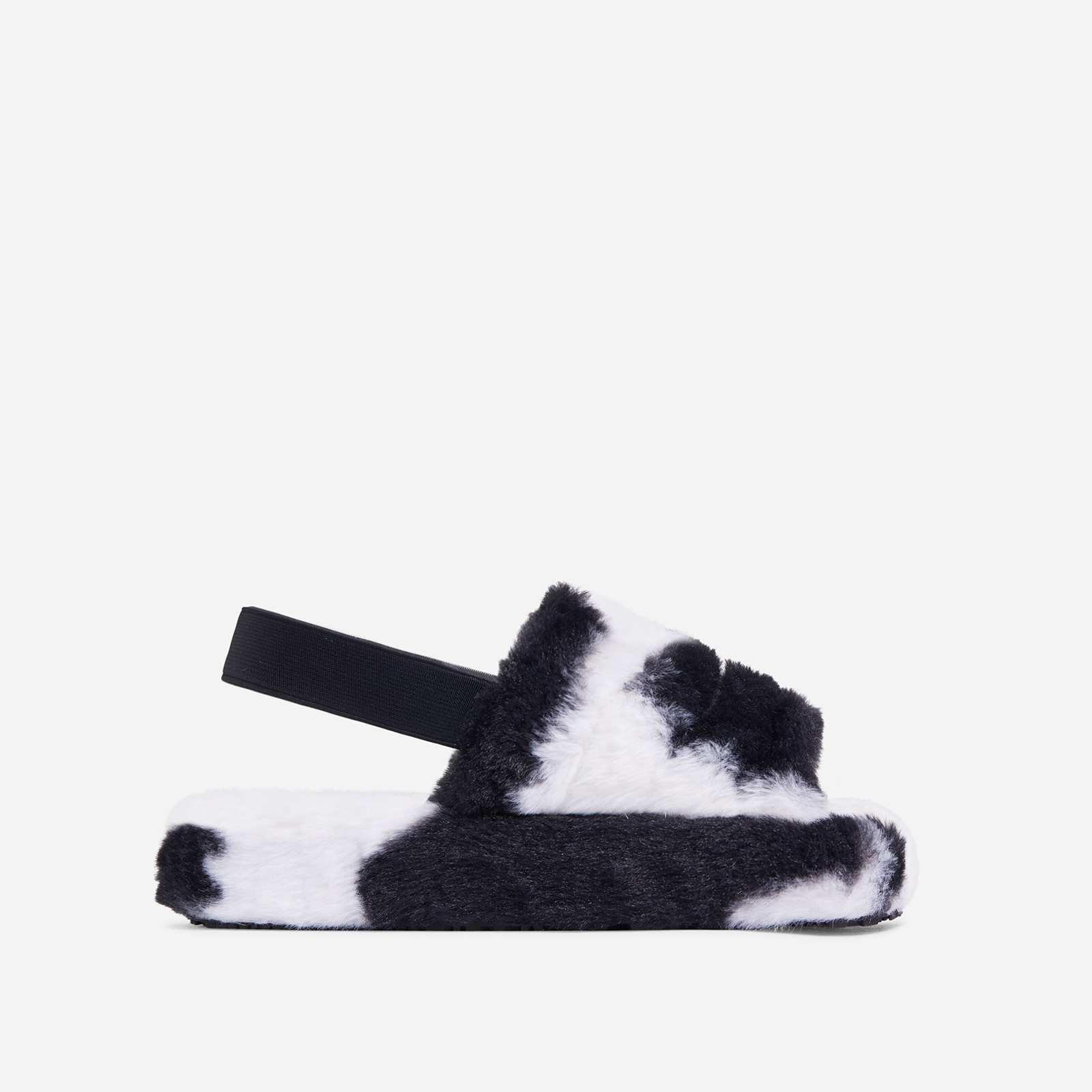 Boo Fluffy Stripe Slipper In Black Cow Print Faux Fur