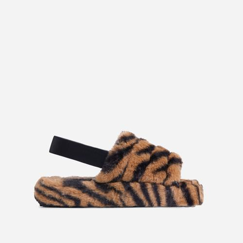 Boo Fluffy Stripe Slipper In Tiger Print Faux Fur