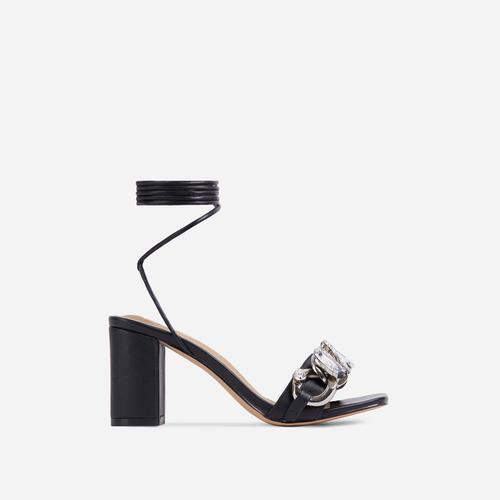 Our-Rule Diamante Gem Chain Detail Lace Up Square Toe Block Heel In Black Faux Leather