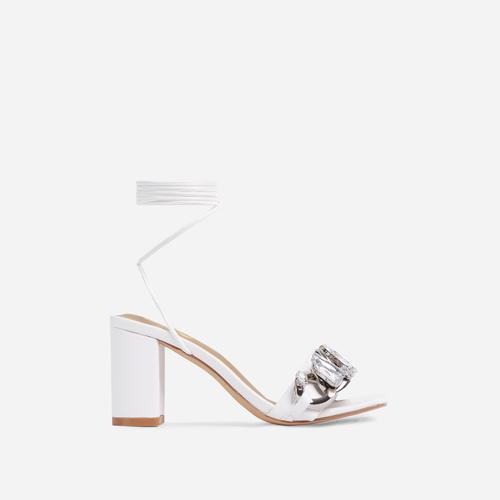 Our-Rule Diamante Gem Chain Detail Lace Up Square Toe Block Heel In White Faux Leather