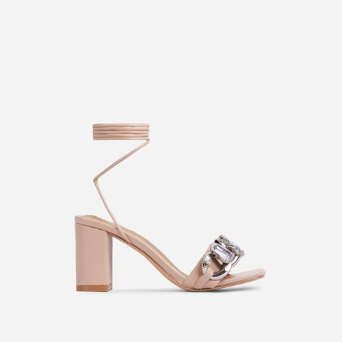 Our-Rule Diamante Gem Chain Detail Lace Up Square Toe Block Heel In Nude Faux Leather