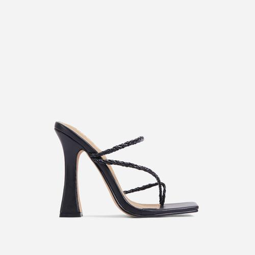 Tahiti Strappy Plait Detail Square Toe Heel Mule In Black Faux Leather