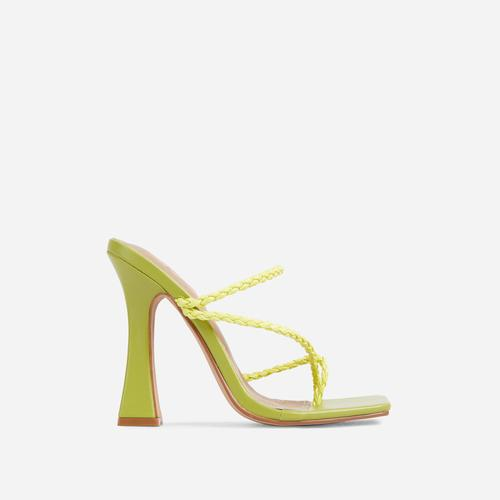 Tahiti Strappy Plait Detail Square Toe Heel Mule In Green Faux Leather