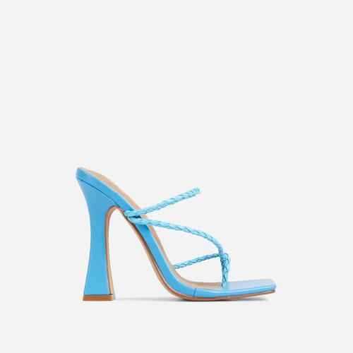 Tahiti Strappy Plait Detail Square Toe Heel Mule In Blue Faux Leather