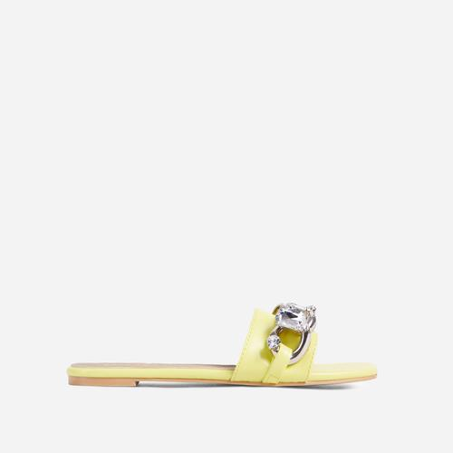 Candy-Shop Diamante Gem Chain Detail Flat Slider Sandal In Yellow Faux Leather