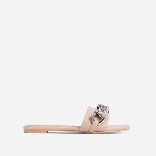 Candy-Shop Diamante Gem Chain Detail Flat Slider Sandal In Nude Faux Leather