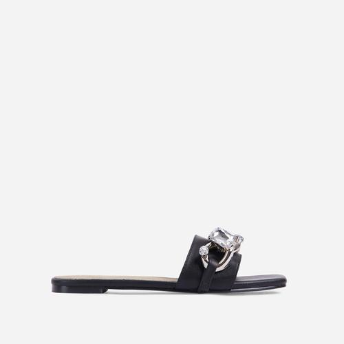 Candy-Shop Diamante Gem Chain Detail Flat Slider Sandal In Black Faux Leather