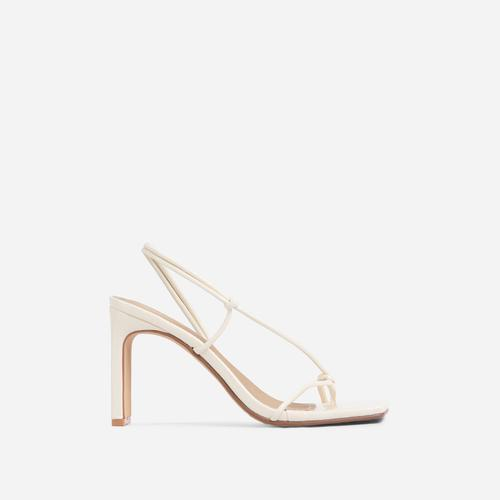 Marble Square Toe Knot Detail Heel In Cream Croc Print Patent