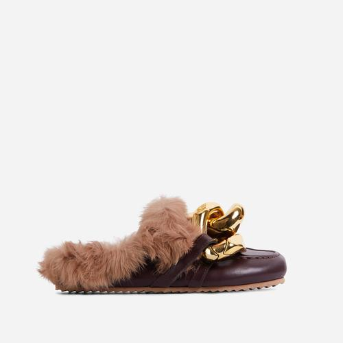 Boss-Vibes Chain Detail Faux Fur Flat Mule In Dark Brown Faux Leather