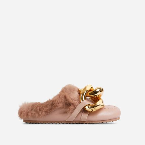 Boss-Vibes Chain Detail Faux Fur Flat Mule In Nude Faux Leather