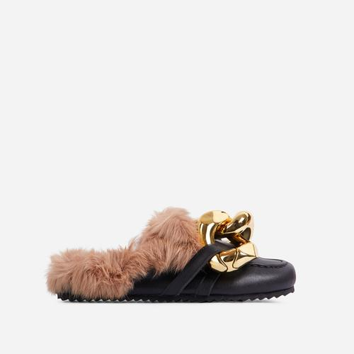 Boss-Vibes Chain Detail Faux Fur Flat Mule In Black Faux Leather