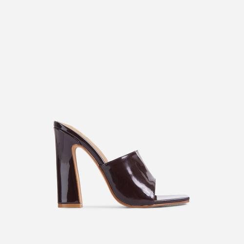 Begins Square Peep Toe Flared Block Heel Mule In Dark Brown Patent