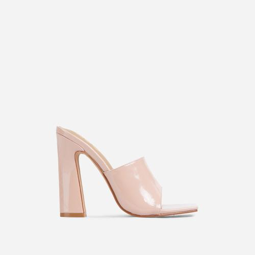Begins Square Peep Toe Flared Block Heel Mule In Nude Patent