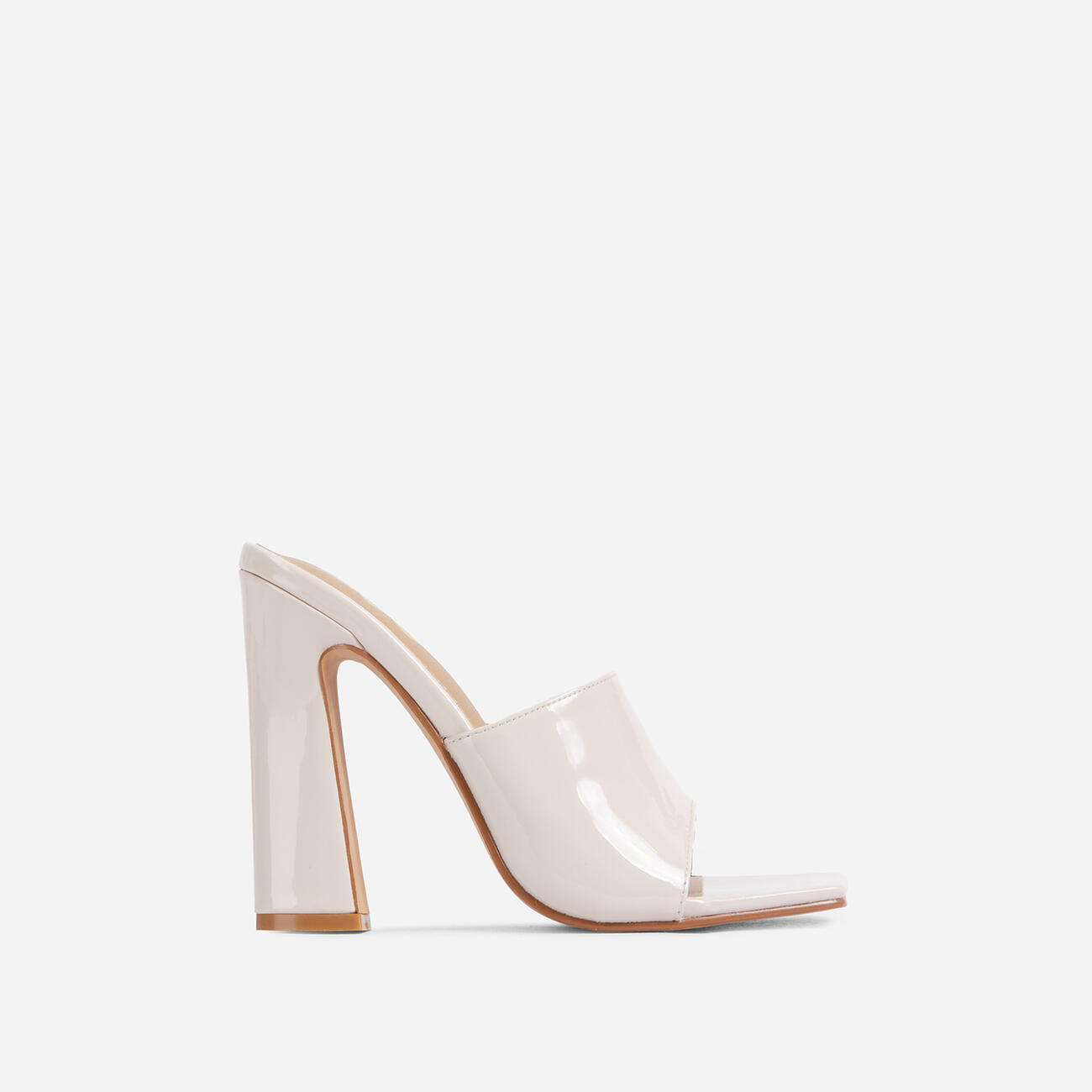 Begins Square Peep Toe Flared Block Heel Mule In Cream Patent Image 1