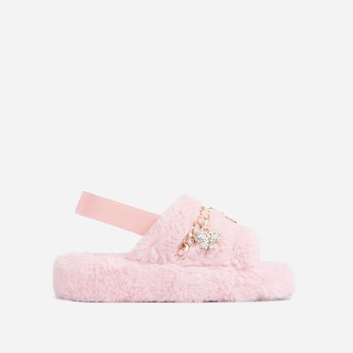Charmer Fluffy Stripe Chain Detail Slipper In Pink Faux Fur