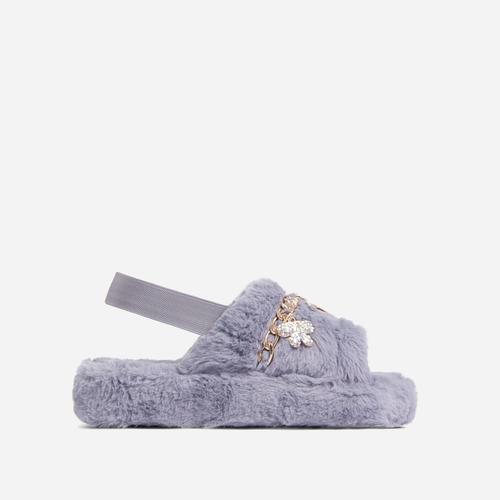 Charmer Fluffy Stripe Chain Detail Slipper In Grey Faux Fur