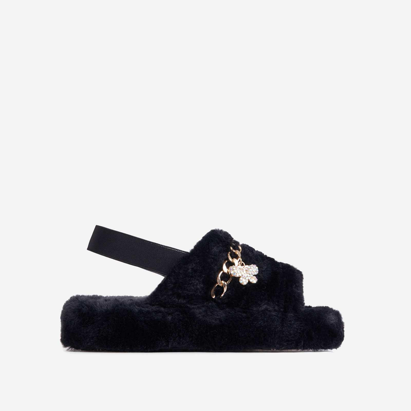 Charmer Fluffy Stripe Chain Detail Slipper In Black Faux Fur