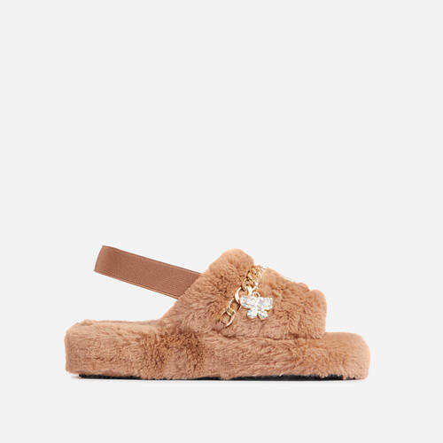 Charmer Fluffy Stripe Chain Detail Slipper In Nude Faux Fur