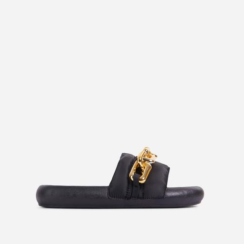 Vava Chain Detail Flat Slider Sandal In Black Nylon