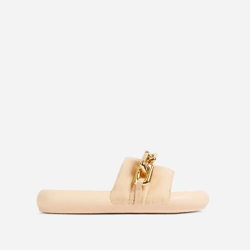 Vava Chain Detail Flat Slider Sandal In Cream Nylon
