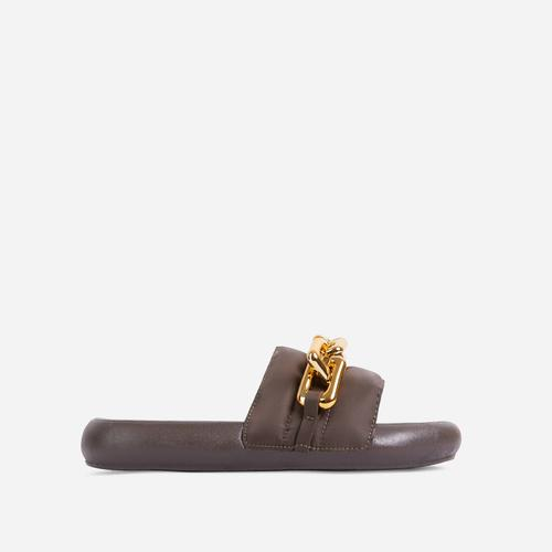 Vava Chain Detail Flat Slider Sandal In Khaki Nylon