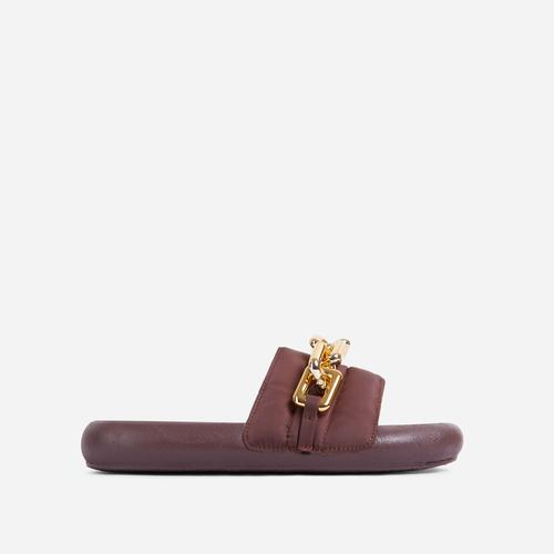 Vava Chain Detail Flat Slider Sandal In Dark Brown Nylon