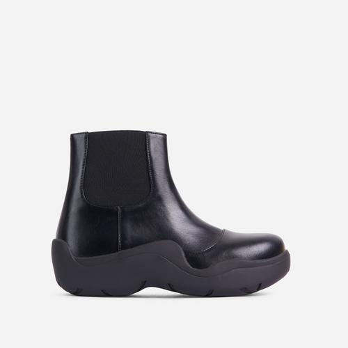 Walk Ankle Wellington Boot In Black Faux Leather
