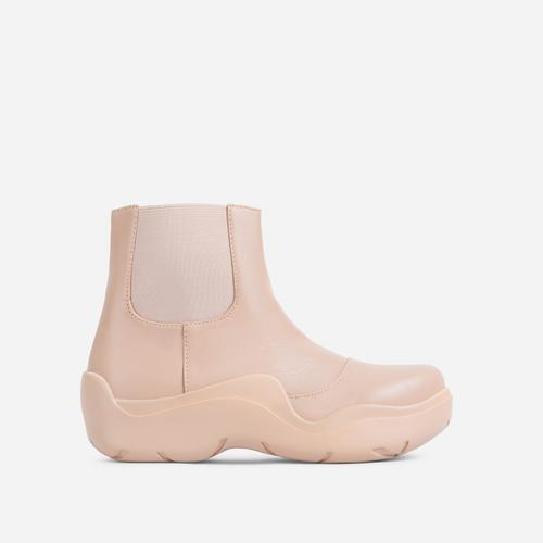 Walk Ankle Wellington Boot In Nude Faux Leather