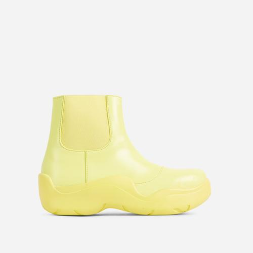 Walk Ankle Wellington Boot In Yellow Faux Leather