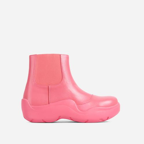 Walk Ankle Wellington Boot In Pink Faux Leather