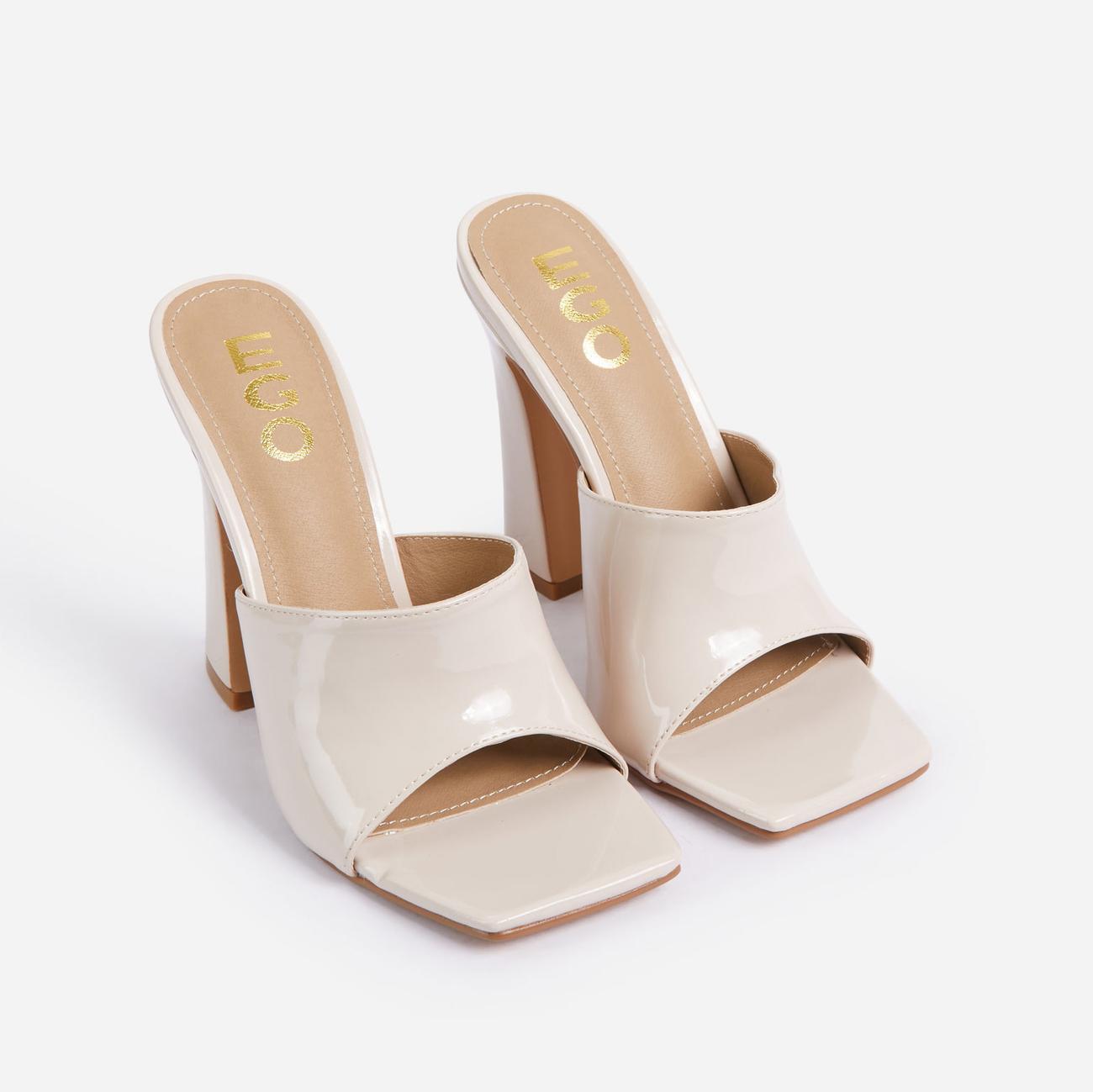 Begins Square Peep Toe Flared Block Heel Mule In Cream Patent Image 2