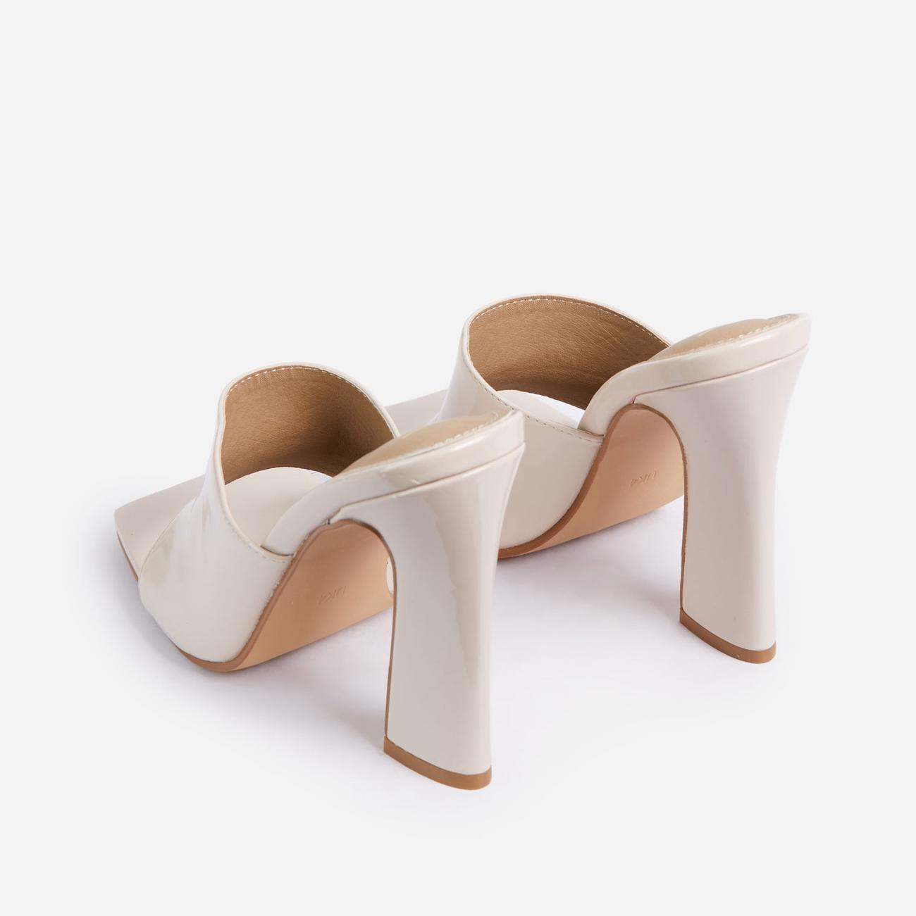 Begins Square Peep Toe Flared Block Heel Mule In Cream Patent Image 3