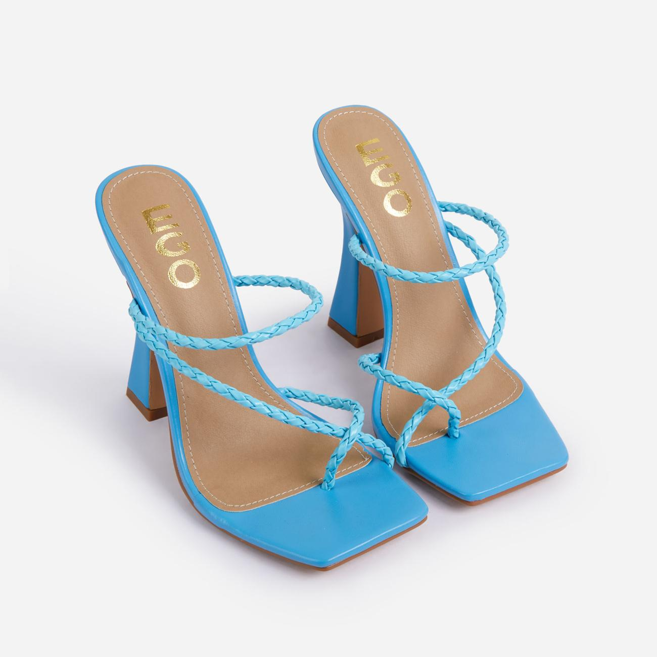 Tahiti Strappy Plait Detail Square Toe Heel Mule In Blue Faux Leather Image 2