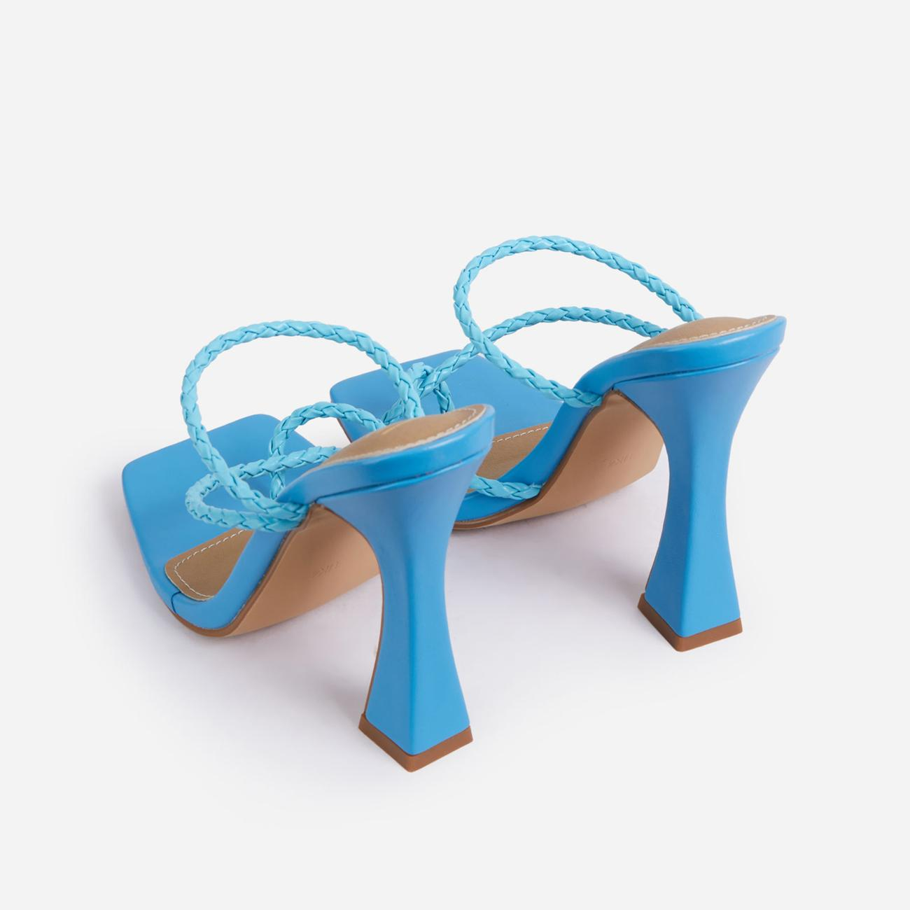Tahiti Strappy Plait Detail Square Toe Heel Mule In Blue Faux Leather Image 3