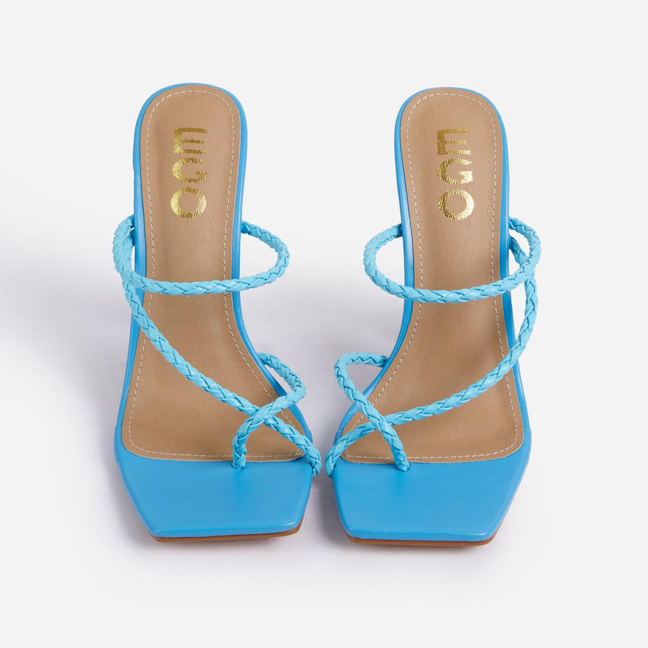 Tahiti Strappy Plait Detail Square Toe Heel Mule In Blue Faux Leather Image 4
