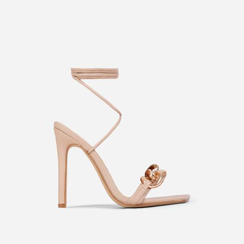 Ring-Leader Chunky Chain Detail Lace Up Square Toe Heel In Nude Faux Leather