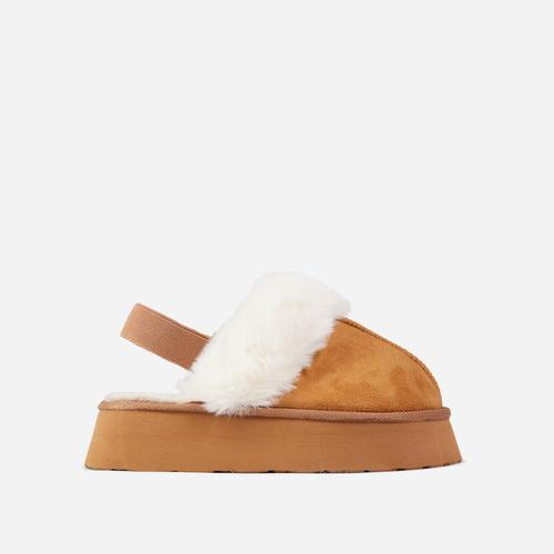 Pumpkin-Spice Fluffy Faux Fur Platform Slipper In Brown Faux Suede